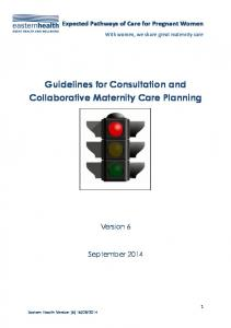 Guidelines for Consultation and Collaborative Maternity Care Planning