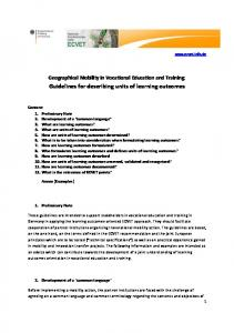 Guidelines for describing units of learning outcomes