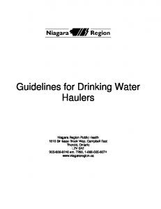Guidelines for Drinking Water Haulers