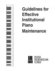 Guidelines for Effective Institutional Piano Maintenance