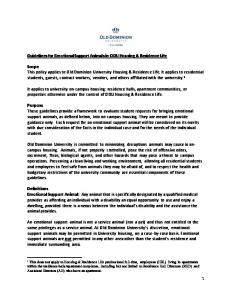 Guidelines for Emotional Support Animals in ODU Housing & Residence Life