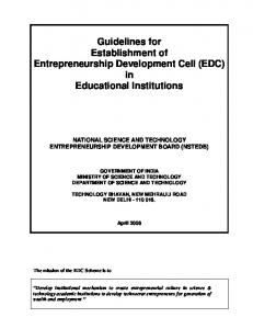 Guidelines for Establishment of Entrepreneurship Development Cell (EDC) in Educational Institutions