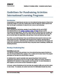 Guidelines for Fundraising Activities International Learning Programs