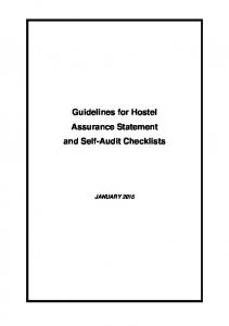 Guidelines for Hostel Assurance Statement and Self-Audit Checklists