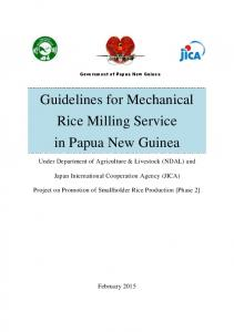 Guidelines for Mechanical Rice Milling Service in Papua New Guinea