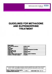GUIDELINES FOR METHADONE AND BUPRENORPHINE TREATMENT