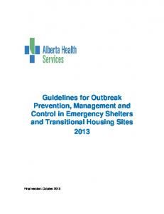 Guidelines for Outbreak Prevention, Management and Control in Emergency Shelters and Transitional Housing Sites 2013