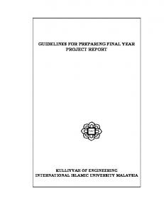 GUIDELINES FOR PREPARING FINAL YEAR PROJECT REPORT