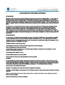 GUIDELINES FOR REFERENCE SERVICES