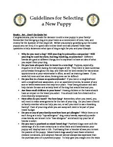 Guidelines for Selecting a New Puppy