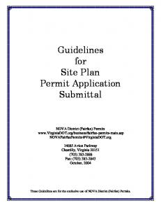 Guidelines for Site Plan Permit Application Submittal