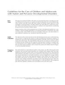 Guidelines for the Care of Children and Adolescents with Autism and Pervasive Developmental Disorders