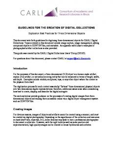 GUIDELINES FOR THE CREATION OF DIGITAL COLLECTIONS