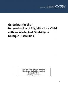 Guidelines for the Determination of Eligibility for a Child with an Intellectual Disability or Multiple Disabilities