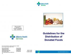 Guidelines for the Distribution of Donated Foods