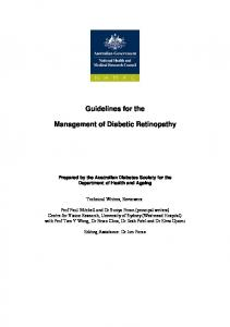 Guidelines for the. Management of Diabetic Retinopathy