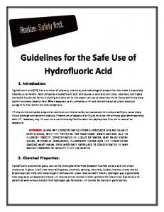 Guidelines for the Safe Use of. Hydrofluoric Acid