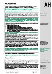 Guidelines of the Federal Employment Agency (Bundesagentur für Arbeit BA) for Filling Out the Application Form for Unemployment Benefit II