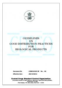 GUIDELINES ON GOOD DISTRIBUTION PRACTICES FOR BIOLOGICAL PRODUCTS