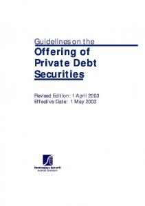 Guidelines on the. Offering of Private Debt Securities