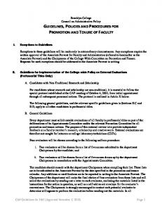 GUIDELINES, POLICIES AND PROCEDURES FOR PROMOTION AND TENURE OF FACULTY