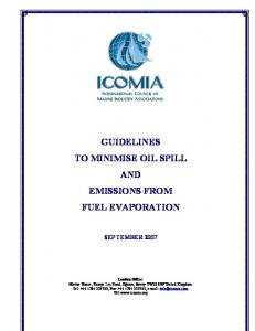 GUIDELINES TO MINIMISE OIL SPILL AND EMISSIONS FROM FUEL EVAPORATION
