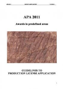 GUIDELINES TO PRODUCTION LICENSE APPLICATION