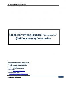 Guides for writing Proposal Technical & Cost (Bid Documents) Preparation
