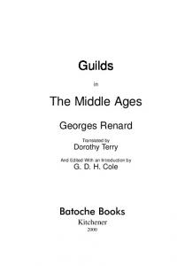 Guilds. The Middle Ages