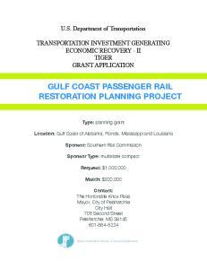 GULF COAST PASSENGER RAIL RESTORATION PLANNING PROJECT