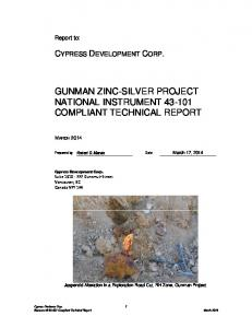 GUNMAN ZINC-SILVER PROJECT NATIONAL INSTRUMENT COMPLIANT TECHNICAL REPORT