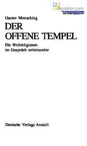 Gustav Mensching DER OFFENE TEMPEL