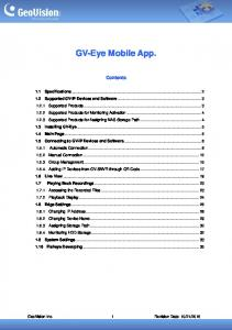 GV-Eye Mobile App. Contents
