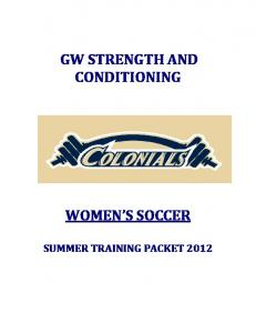 GW STRENGTH AND CONDITIONING WOMEN S SOCCER