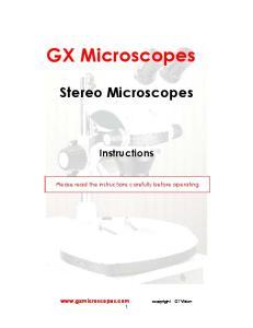 GX Microscopes Stereo Microscopes Instructions