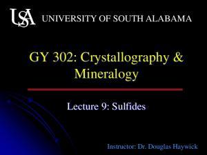 GY 302: Crystallography & Mineralogy