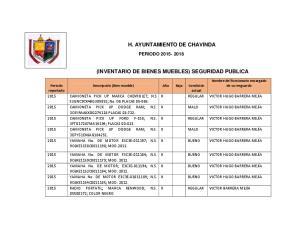 H. AYUNTAMIENTO DE CHAVINDA (INVENTARIO DE BIENES MUEBLES) SEGURIDAD PUBLICA