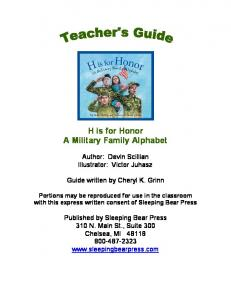 H is for Honor A Military Family Alphabet