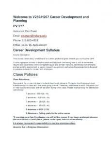 H267 Career Development and Planning PV 277