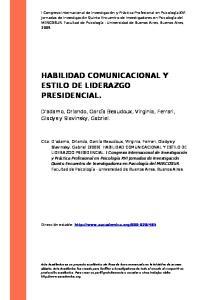 HABILIDAD COMUNICACIONAL Y ESTILO DE LIDERAZGO PRESIDENCIAL