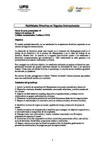 Habilidades Directivas en Negocios Internacionales
