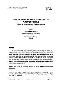 HABILIDADES INTERPERSONALES EN EL AREA DE ALIMENTOS Y BEBIDAS
