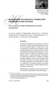 HABILIDADES SOCIALES EN LA FORMACIÓN PROFESIONAL DEL DOCENTE
