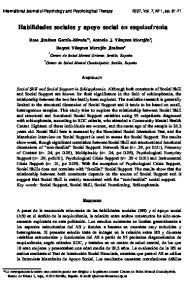 Habilidades sociales y apoyo social en esquizofrenia