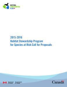 Habitat Stewardship Program for Species at Risk Call for Proposals
