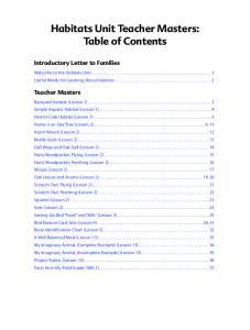 Habitats Unit Teacher Masters: Table of Contents
