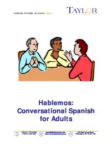 Hablemos: Conversational Spanish for Adults