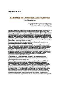 HABLEMOS DE LA DEMOCRACIA ARGENTINA