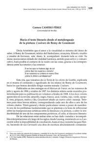 Hacia el texto literario desde el metalenguaje de la pintura: Couleurs de Remy de Gourmont