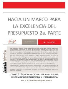 HACIA UN MARCO PARA LA EXCELENCIA DEL PRESUPUESTO 2a. PARTE